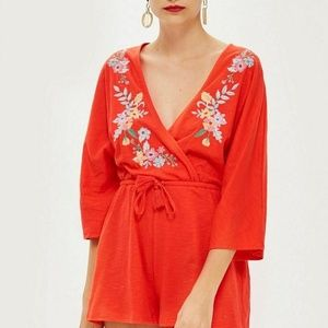 Topshop embroidered jersey romper size 6 New